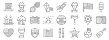 Th Of July Line Icons. Linear Set. Quality Vector Line Set Such As Champagne, Star, Building, Heart, Usa, Television, Popsicle, Firework, Cowboy