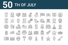 Set Of 50 Th Of July Icons. Ou...