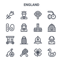 Set Of 16 England Concept Vector Line Icons. 64x64 Thin Stroke Icons Such As Queen, English Breakfast, Royal Albert Hall, Police Hat, Tennis Racket, Swan, Clover, Tate Modern, Pocket Watch
