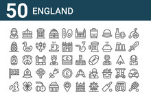 Set Of 50 England Icons. Outli...