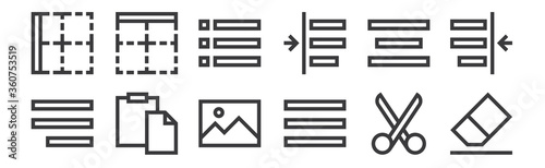 12 set of linear text editor icons Canvas Print