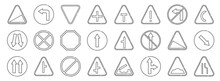 Signaling Line Icons. Linear Set. Quality Vector Line Set Such As Narrow Road, Go Straight Or Right, Intersection, One Way, Slope, Stop, Right Bend, T Junction, Turn Left