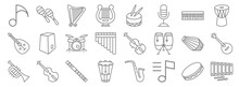 Music Instruments Line Icons. ...