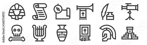 12 set of linear history icons. thin outline icons such as aztec pyramid, bible, harp, feather pen, compass, papyrus for web, mobile.