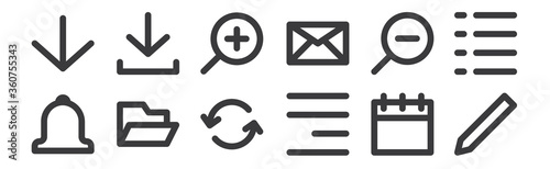 Photo 12 set of linear user interface icons
