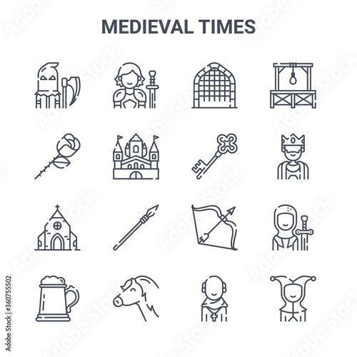 set of 16 medieval times concept vector line icons Canvas Print