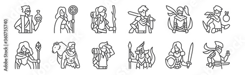 Photo 12 set of linear roleplaying avatars icons