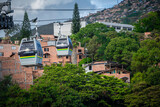 Fototapeta Do pokoju - Medellin, Antioquia / Colombia. October 28, 2018. Line M of the Medellín Metro is a cable car line used as a medium-capacity mass transportation system. It was inaugurated on February 28, 2019.