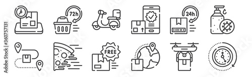 12 set of linear delivery icons Canvas Print