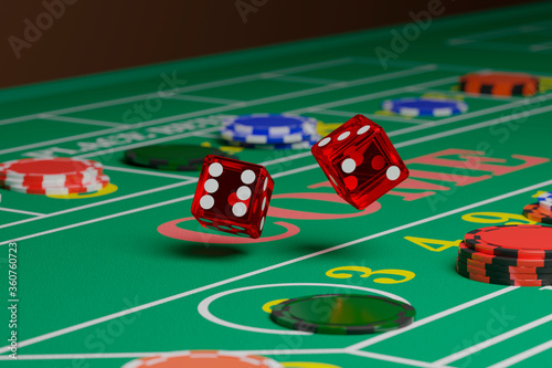 Close up of dice rolling on a craps table Wallpaper Mural