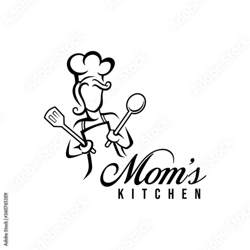 Mom kitchen logo vector illustration with modern typography Fototapete