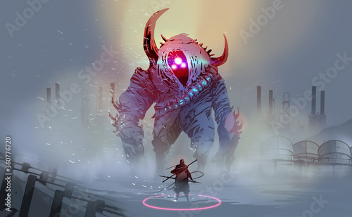 Leinwand Poster Digital illustration painting design style a warrior with a giant monster in blizzard against abandoned factories