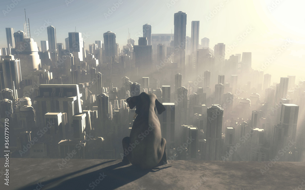 Fototapeta Sitting elephant looking at a big city during sunset . industrialization and global warming concept. This is a 3d render illustration . .