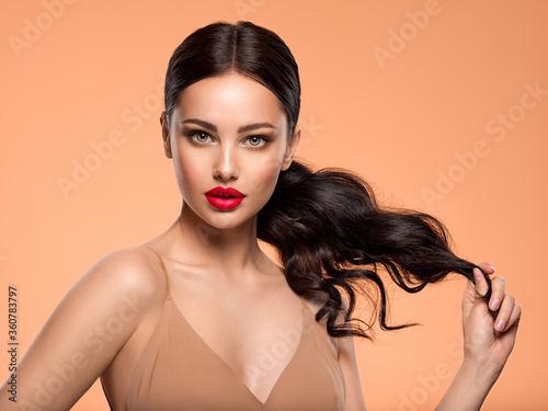 Valokuvatapetti Beautiful white girl with a red lipstick on lips