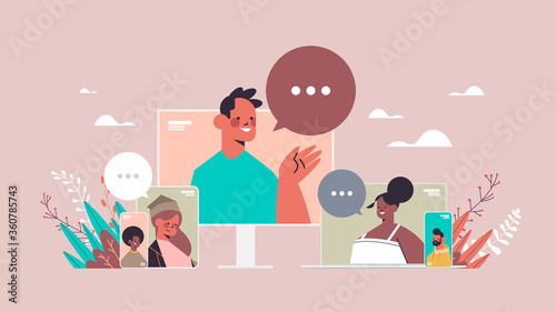 mix race friends chatting during video call people having virtual live conference communication self isolation quarantine concept portrait horizontal vector illustration - 360785743