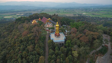 .aerial View Stairway To The Highest Temple Wat Prathat Doi Wao At Mae Sai Chiang Rai Thailand