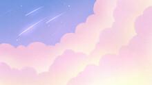 雲の隙間から見える流星群の幻想的な壁紙