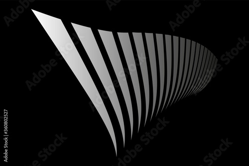 Fototapeta Abstract black background. Lines in diminishing perspective.