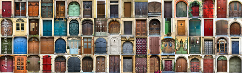 Collection of different retro style entrance doors, creative collage