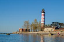 At The Shepelevo Lighthouse On A Sunny May Evening. Leningrad Region, Russia