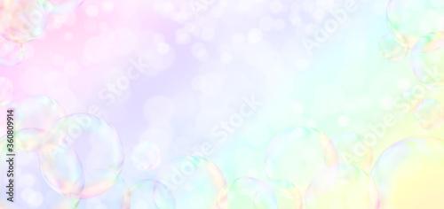 Carta da parati Soap bubbles on rainbow colors background