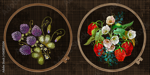 Obraz Embroidery collection. Strawberry plant with leaves, berries and flower. Template tambour frame with a canvas, elements from stitches. Art for clothes - fototapety do salonu
