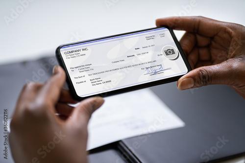 Remote Check Deposit Taking Photo Canvas