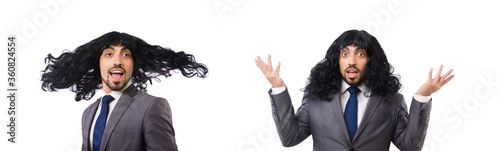 Photo Funny businessman with female wig isolated on white