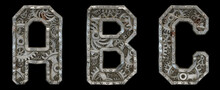 Mechanical Alphabet Made From Rivet Metal With Gears On Black Background. Set Of Letters A, B, C. 3D