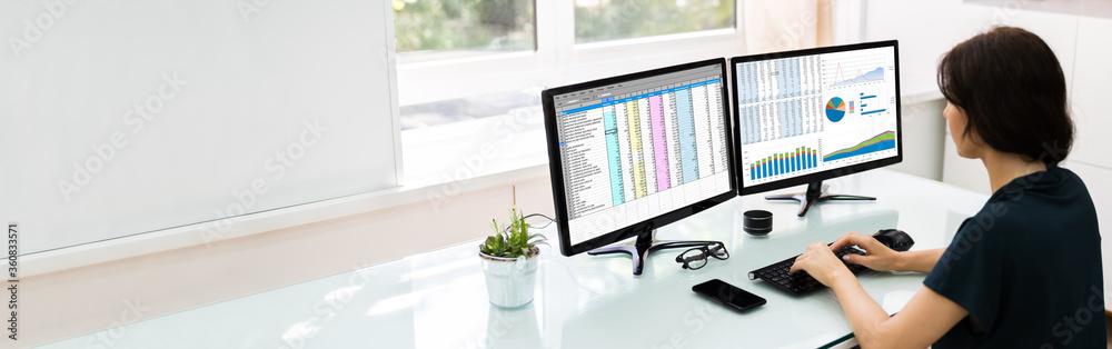 Fototapeta Analyst Employee Working With Spreadsheet