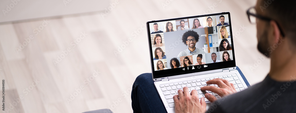 Fototapeta Work From Home Video Conference Call