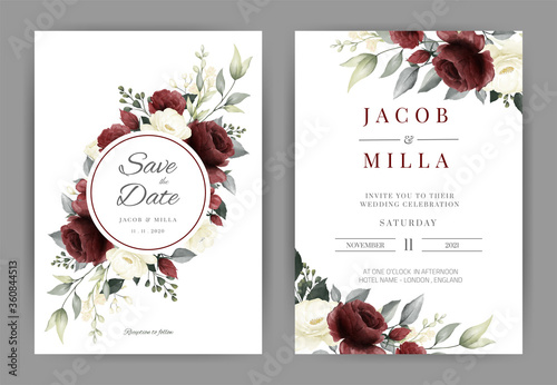 Wedding invitation card set with red and white rose watercolor vector template