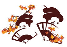 Beautiful Geisha With Face Hidden Behind Hand Fan And Maple Branches - Autumn Season Japanese Beauty Vector Portrait