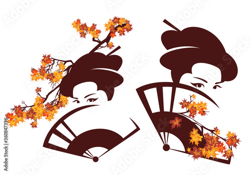 beautiful geisha with face hidden behind hand fan and maple branches - autumn se Fototapet