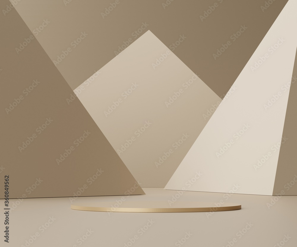 Fototapeta 3d abstract render scene of minimal Podium for display products and advertising with clean background.