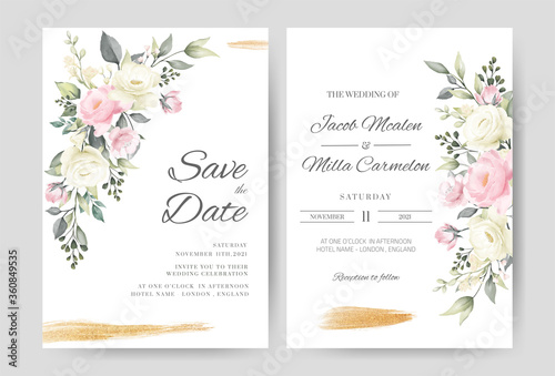 Obraz Wedding invitation card template set with watercolor pink and white rose gold brush. - fototapety do salonu