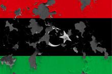 Libya Flag Close Up Painted, D...