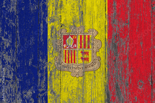 Andorra flag on grunge scratched wooden surface Canvas Print