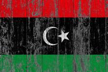 Libya Flag On Grunge Scratched...