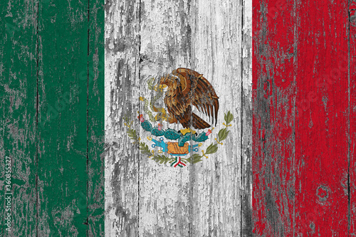 Mexico flag on grunge scratched wooden surface Fototapeta