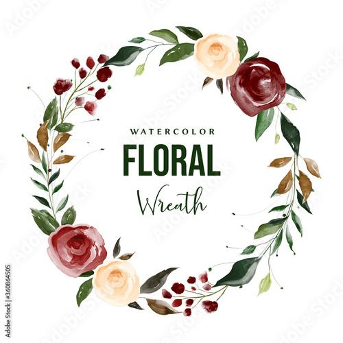 Fényképezés Watercolor Flower Wreath, Floral Wreath Wedding, Flower Wreath Clipart, Wreath L