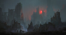 A Team Of Soldiers Walk In The City After The Nuclear War, Digital Painting.