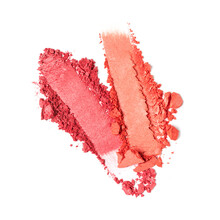 Close-up Of Make-up Swatches. Smears Of Crushed Red Blusher