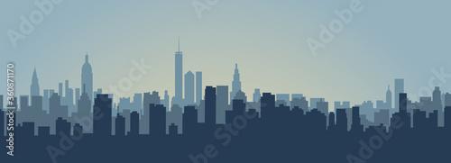The silhouette city. Modern City Skyline. EPS 10 Canvas