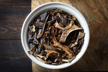 Traditional Siberian Food: Sundried Forest Mushrooms Soaked Before Cooking