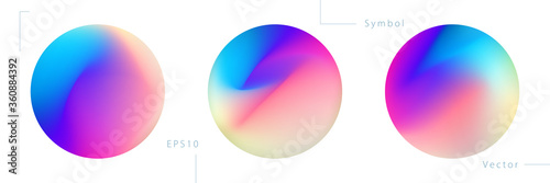 Obraz Set of Colorful Circle Graphic Elements on White Background. Abstract Vector Symbols. - fototapety do salonu