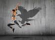 Leinwandbild Motiv Woman in action of high jump. Sports banner