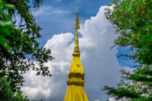 Phra That Kham Kaen-Khon Kaen: June 16, 2020, The Atmosphere Inside The Temple, There Is A Chapel, Large Pagoda, For People Or Tourists To Come To Make Merit, Ban Kham, Nam Phong, Khon Kaen, Thailand