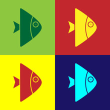 Pop Art Fish Icon Isolated On ...