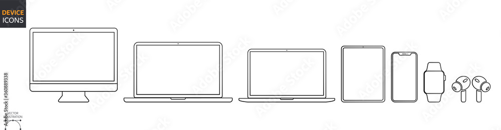 Fototapeta Device Icons Set: Desktop Computer, Laptop, Tablet and Smartphone, Watch, Earpods. Outline illustration for Web and App. Stock Vector